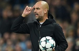 Manchester City's Spanish manager Pep Guardiola shouts instructions to his players from the touchline during the Group F football match between Manchester City and Shakhtar Donetsk at the Etihad Stadium in Manchester, north west England, on September 26, 2017. / AFP PHOTO / Oli SCARFF        (Photo credit should read OLI SCARFF/AFP/Getty Images)
