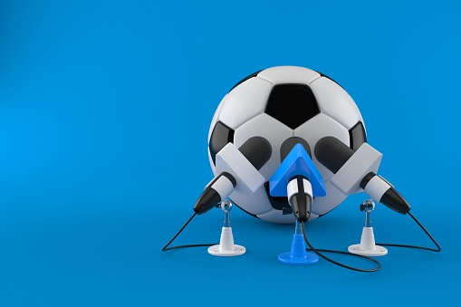 Soccer ball with interview microphones isolated on blue background. 3d illustration